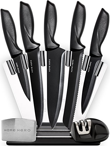 HomeHero 5 Piece Stainless Steel Sharpener And Block Kitchen Knife Set With  Finger Guard